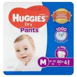 Huggies Dry Pants Diapers M 6-12kg 60pcs + Free 4pcs